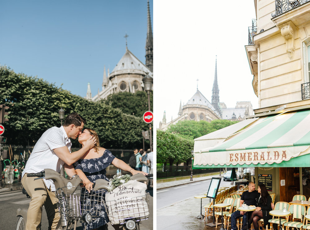 paris photographer diptych couple portraits by notre dame and cafe esmeralda