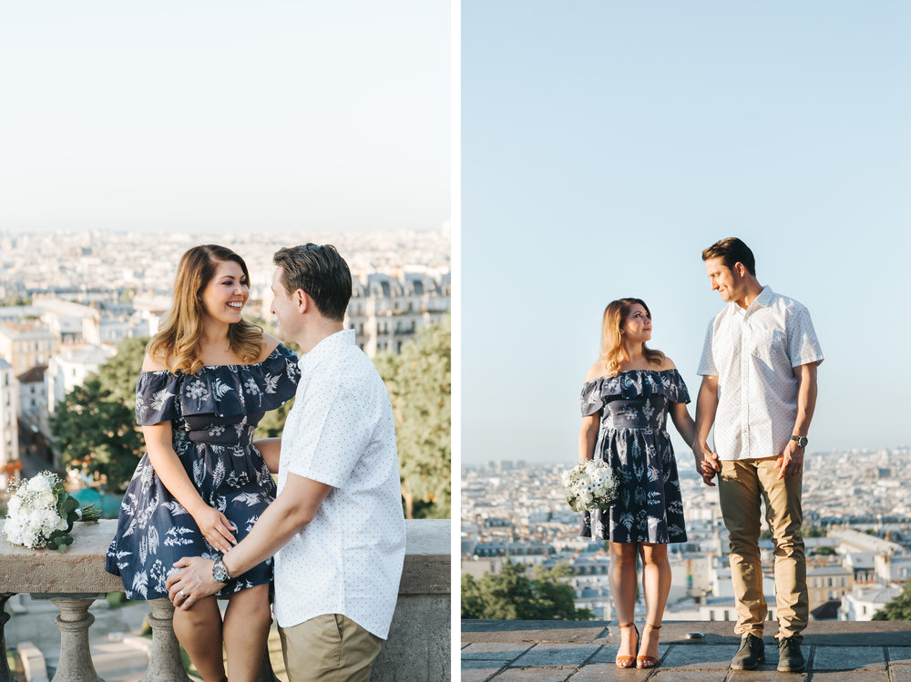 paris photographer anniversary couple portraits diptych in montmartre
