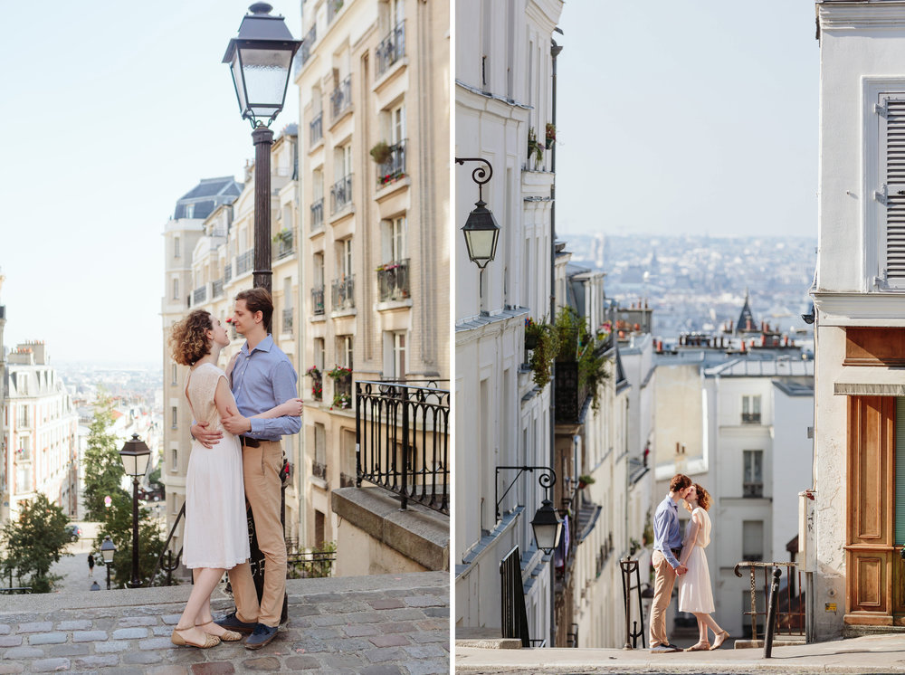 paris photographer engagement couple portrait diptych at sunrise at the streets of montmartre