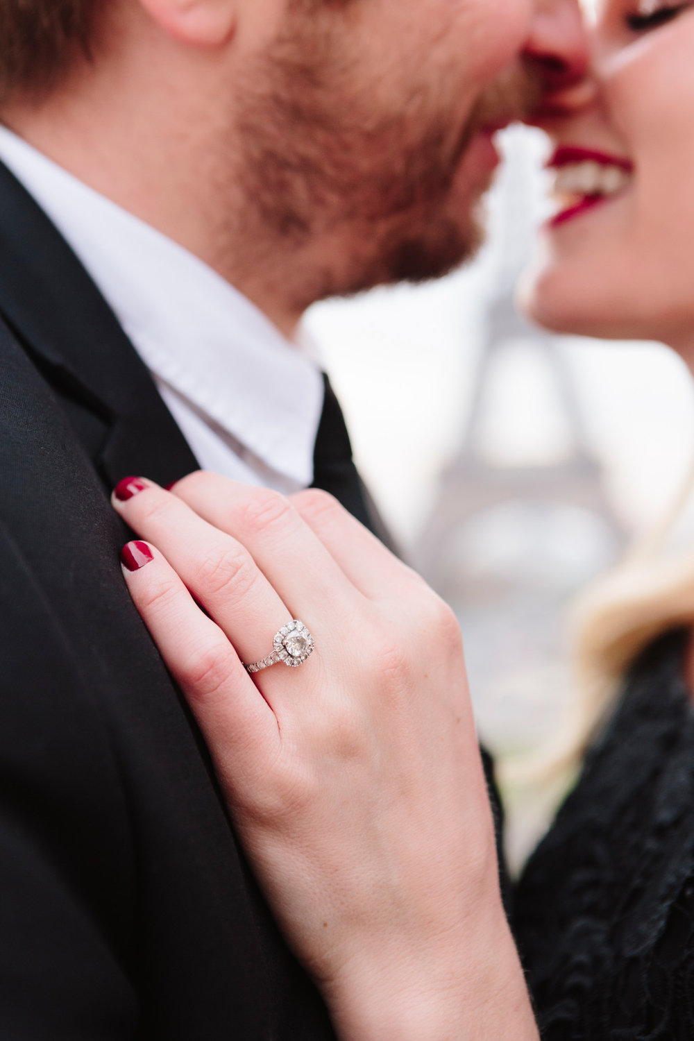 Engagement ring close up photograph next to the Eiffel tower captured by Paris Photographer Federico Guendel