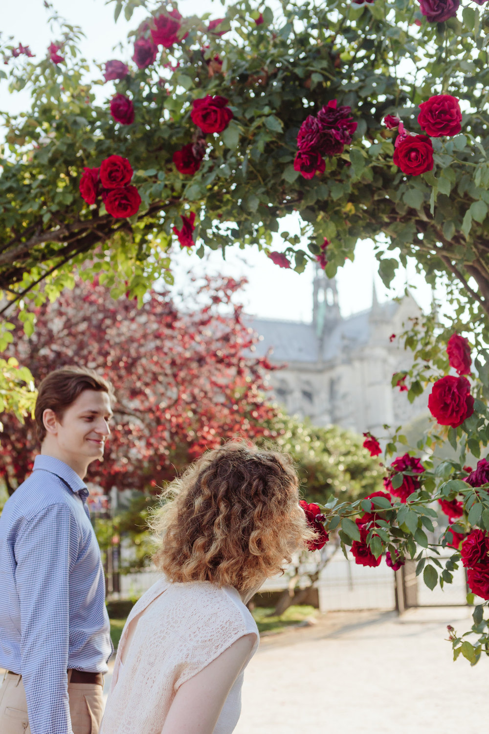 Couple in love by Notre Dame Cathedral smelling roses in a garden in Paris captured by Paris Photographer Federico Guendel IheartParisFr