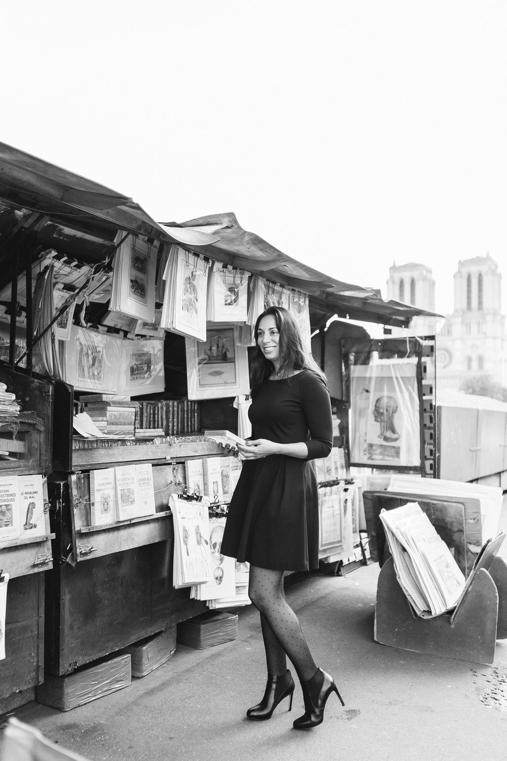 Black and white portrait of Rebecca Plotnick founder of Every Day Parisian blog captured by Paris Photographer Federico and Anastasia Guendel IheartParisFr TheFlyingPoodle