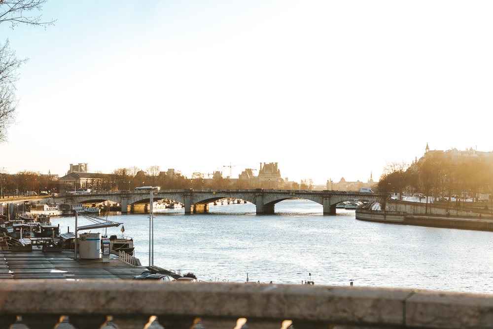 Sunrise view of river Seine from Pont Alexandre III captured by Paris Photographer Federico Guendel IheartParis www.iheartparis.fr