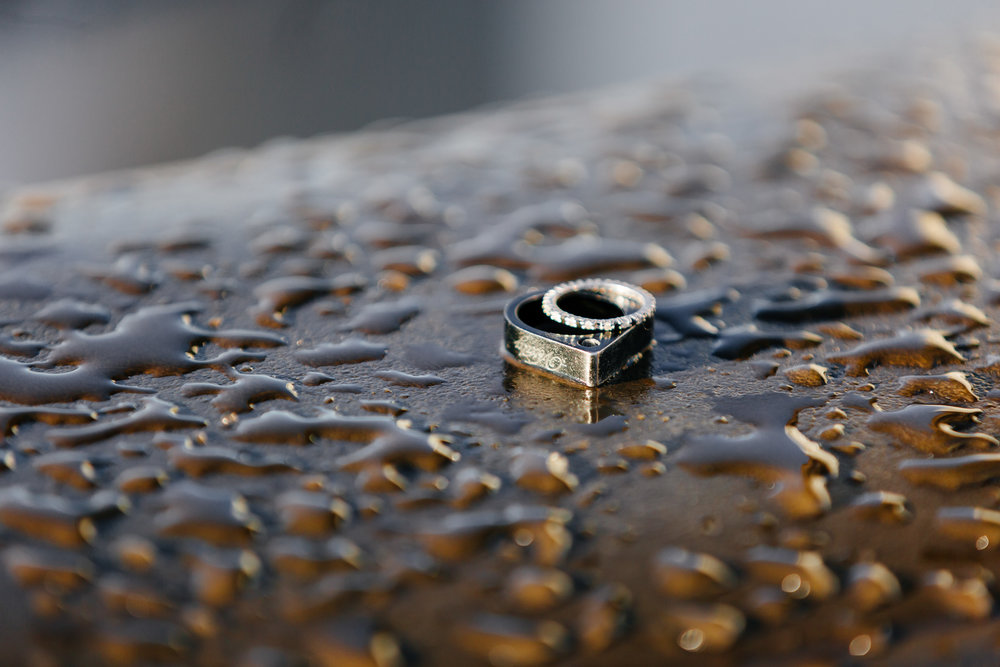 Details of wedding rings in the drops of rain captured by Paris Photographer Federico Guendel IheartParis www.iheartparis.fr