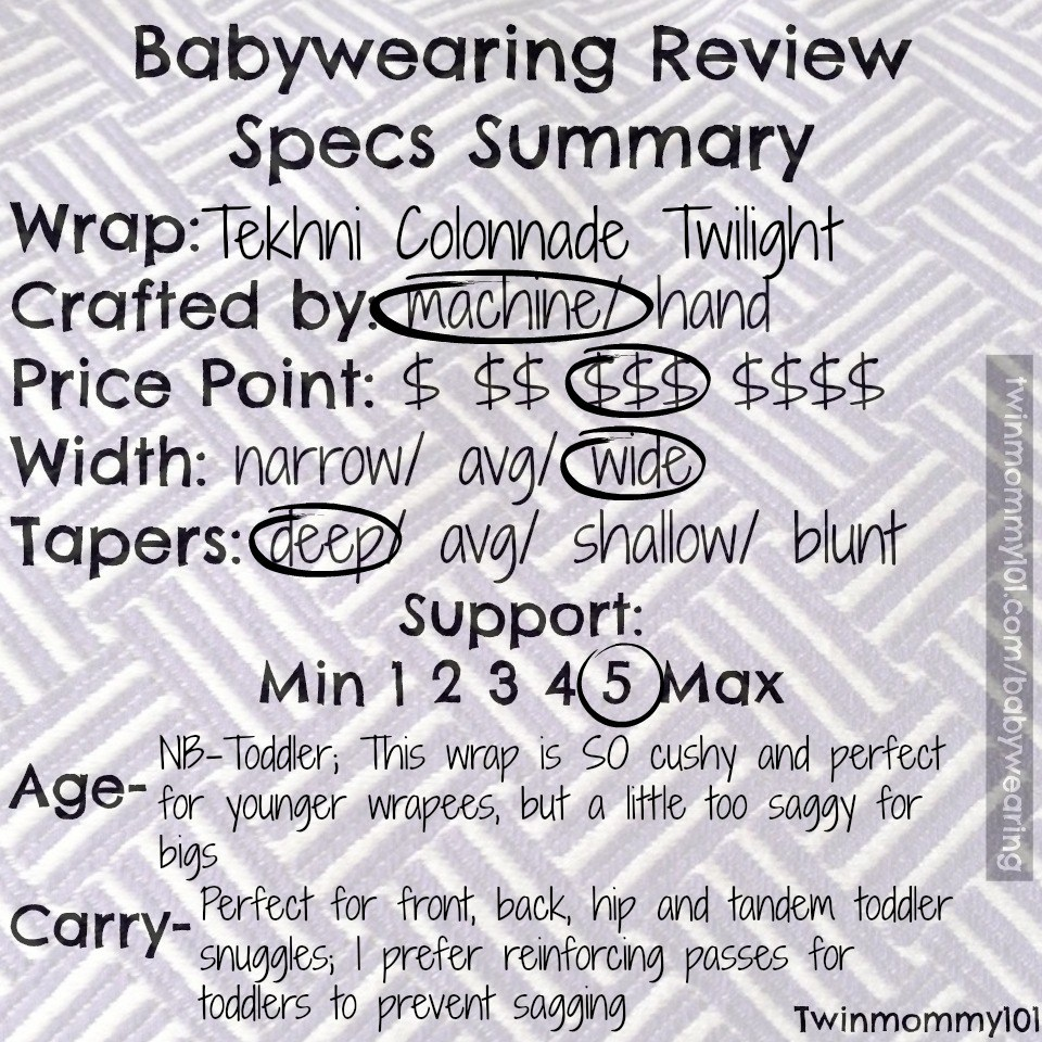 Woven Wraps specs checklist twilight