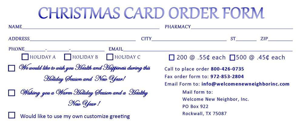 christmas card order form welcome new neighbor inc