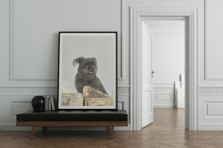 Large scale dog portrait by Waggy Whisker.