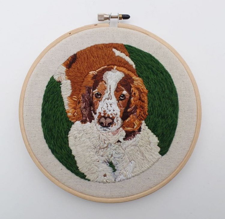 Bespoke dog embroidery by Kathy Halper. Main Image: I thought there'd be more dogs, by Kathy Halper.