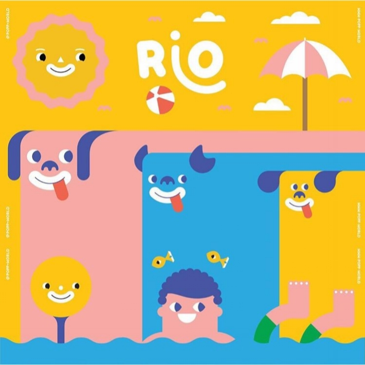 Tim Meakins' ping pong table design (inspired by the Rio Carnival for Dogs) for POPP at Rio 2016.
