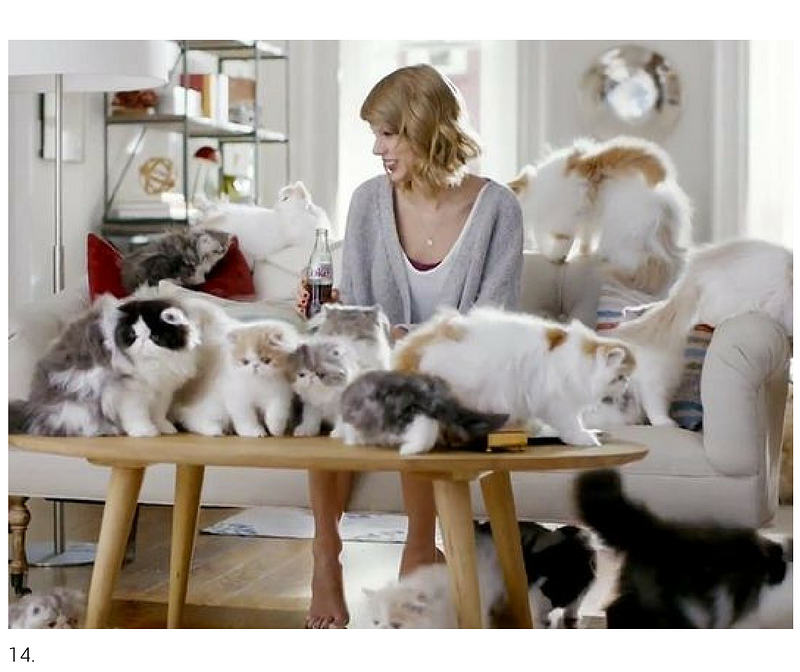 Taylor and Cats for Diet Coke.