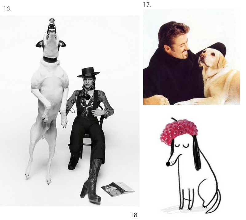 David Bowie by Terry O'Neill; George Michael and lab; Prince by IamJohnBond.