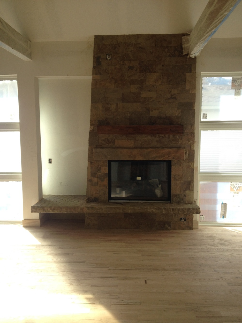 custom fireplace with floating hearth u2014 ascent stone and design
