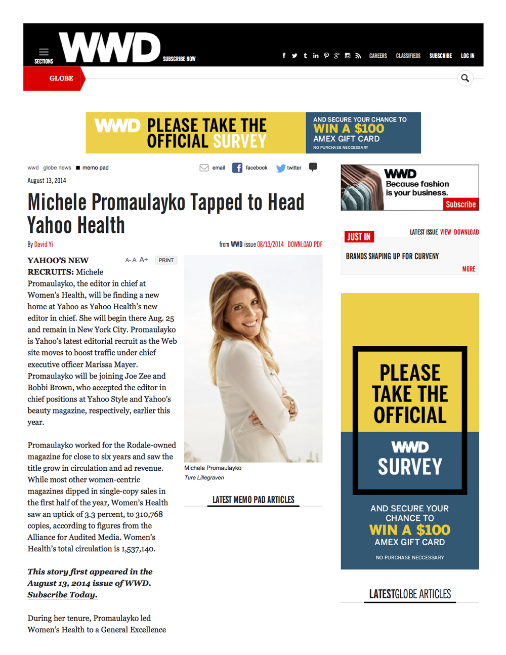 WWD - Michele Promaulayko Tapped to Head Yahoo Health1.jpg
