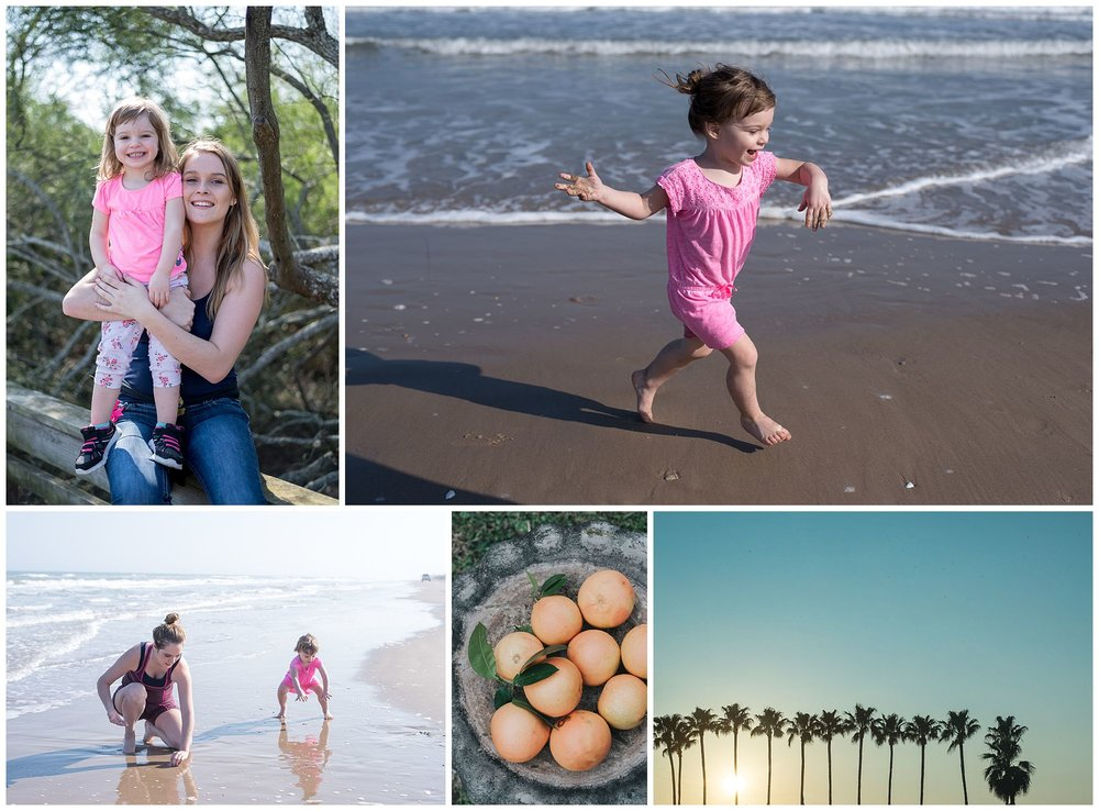 Mom and daughter posing for camera. Toddler running on the beach. Mom and daughter playing in the sand. Grapefruit. Palm Trees.