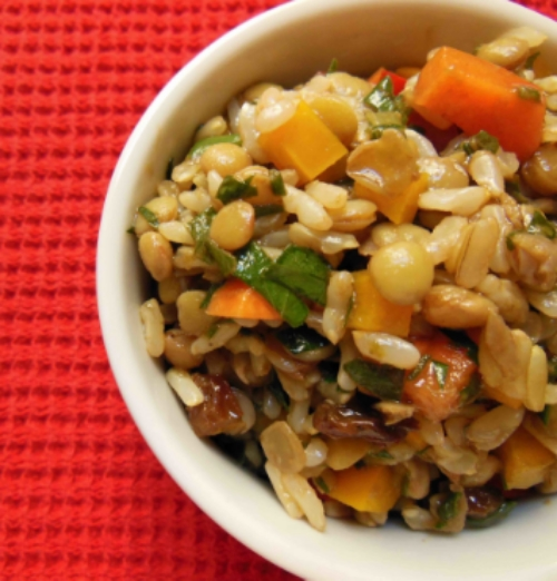 The herb citrus vinaigrette brightens this lentil and brown rice salad.