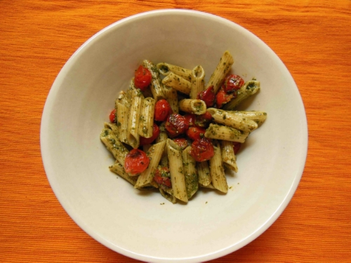 A bowl of pesto pasta is my go-to comfort food.