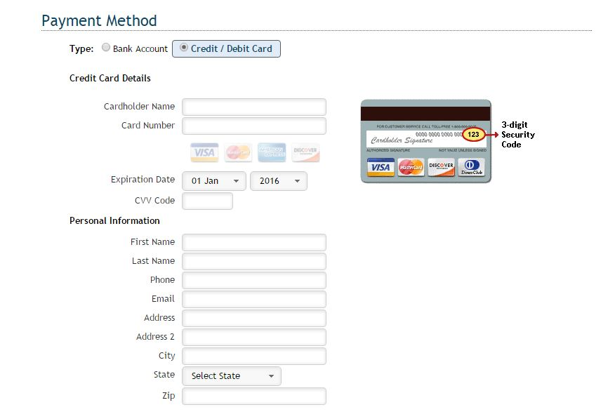 Select type of payment, then enter bank account or credit card information. you will be able to review before submitting.