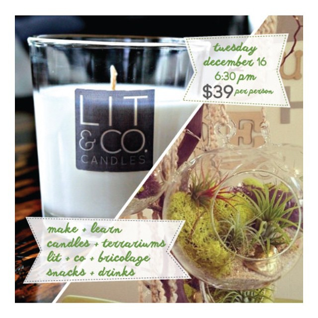 Craft progressive (candles and airplant terrariums) featuring Lit & Co
