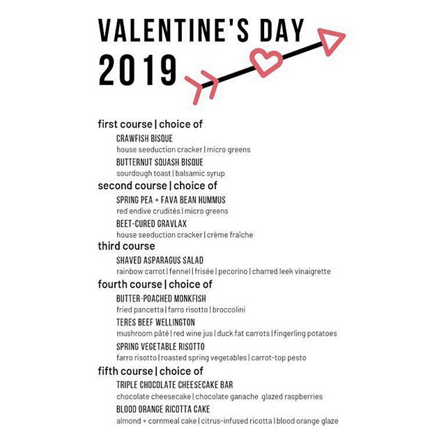 Valentines Day menu at @thefarmhousefc! Make sure you call for reservations soon! Check out their profile for more info💘 . . #artisanvillage #jessupfarm #visitfortcollins #valentinesday