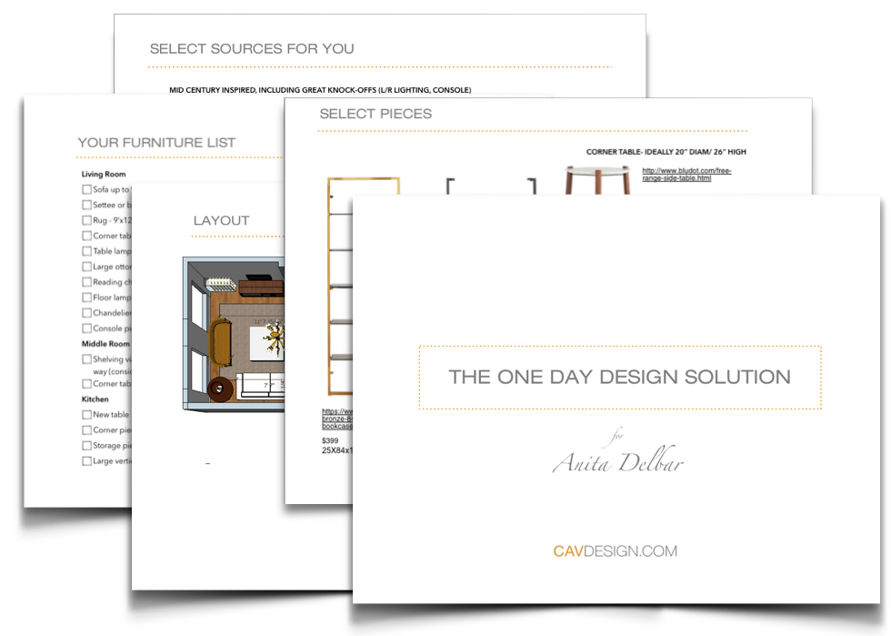 You'll get a multi-page PDF with a master plan for your room layout, where to shop, and a furniture-buying guide to get you from from start to finish.