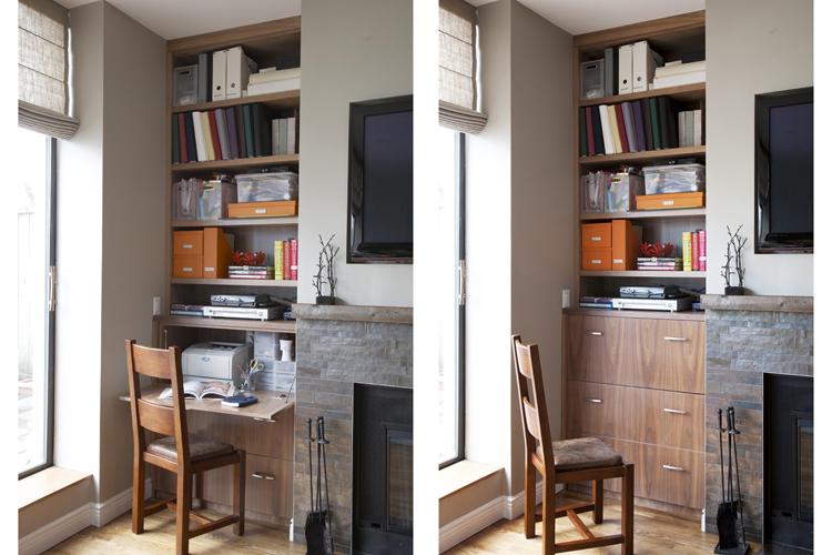 Walnut drop-leaf desk and shelves