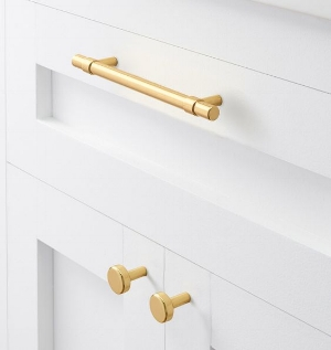 Cb2   Hex Brushed Brass Bar Knob