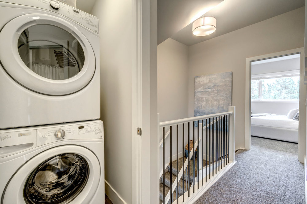 Convenient laundry closet on the upper level