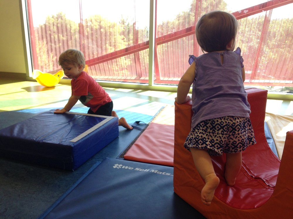 Having fun in toddler area at the Thinkery