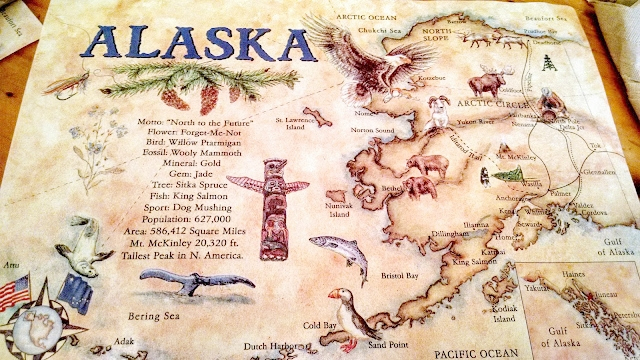 Restaurant placemat from the Salmon Bake in Denali with great Alaska facts