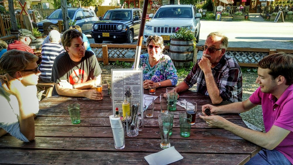 Cold beer and good conversations at the Denali Brewing Co. patio