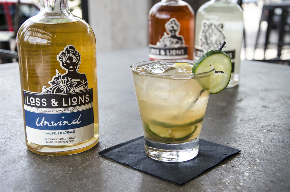 Retox - Ingredients:·       1.5 oz. Lass & Lions Unwind vodka·       1 dash bitters·       2 cucumber slices·       splash fresh lemon·       top with half lemonade half sweet teaCraft:·      Muddle cucumber, bitters, and lemon juice·      add vodka, ice, and lemonade/tea·      serve in rocks glass·      garnish with cucumber