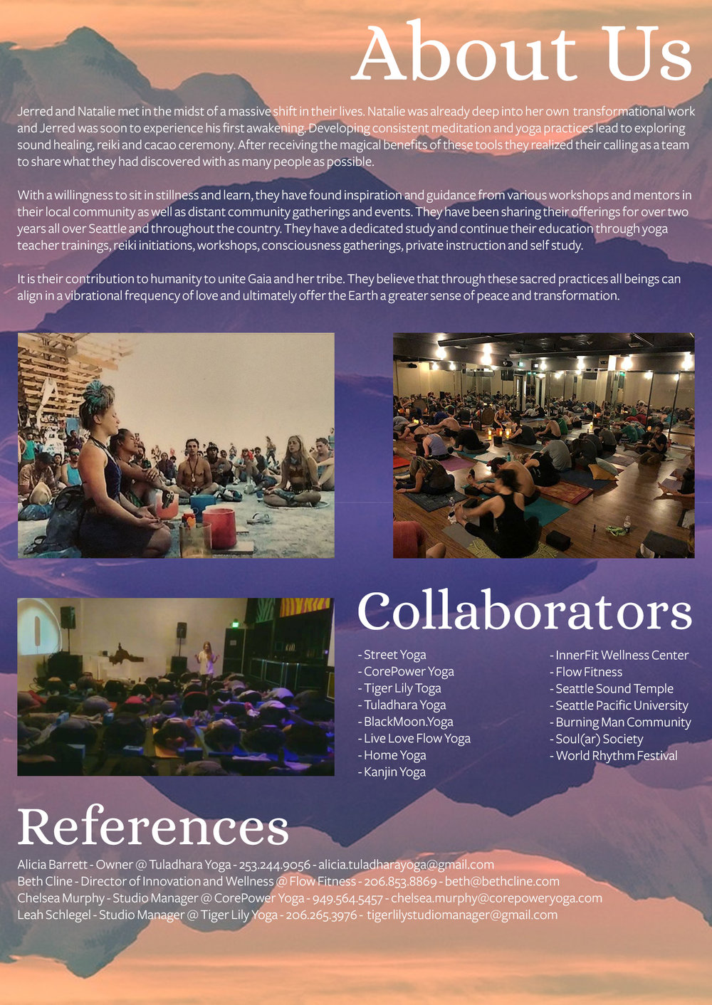 Workshop Offerings 2018 About Us and Collaborators