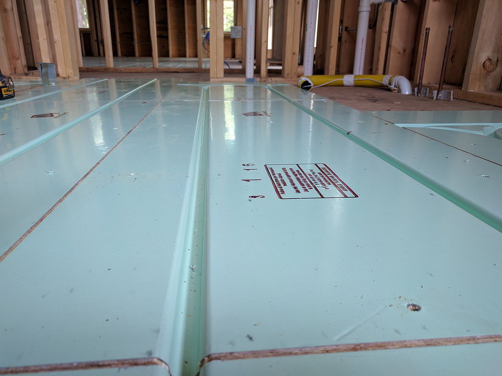 "12"" on center tubing channels hold the tubing in place and make the installation process must faster. And, Warmboard's 12"" tubing spacing outperforms other systems with even double the amount of tubing."