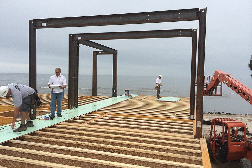 Warmboard-S installs over joist on this ocean-front property.