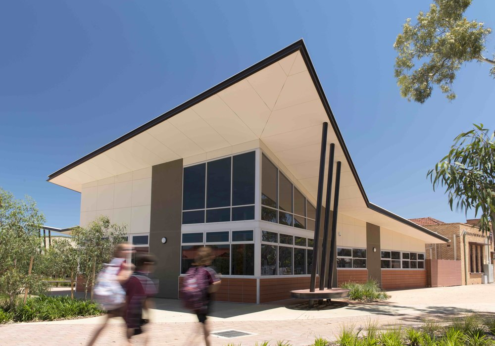 Nicolson Avenue Primary School | Admin Amalgamation   Services: BESTEC Contractor: GCJ Constructions Photographer: Unknown  New administration building at Nicolson Primary School providing a new focus for the recently amalgamated infant and primary schools.