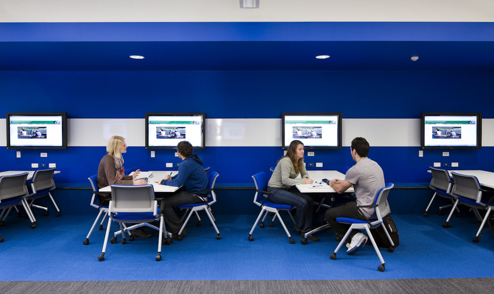 UniSA CEA | NBE Refurbishment   Services: Meinhardt Contractor: Shape Photographer: Unknown  Technology driven teaching studio allowing for individual, group and class based education modes within the same space.