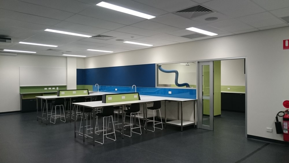 UniSA NBE | Biology Laboratory   New university laboratory integrating practical and teaching areas. The new facility allows students to move seamlessly between the classroom and practical learning space.