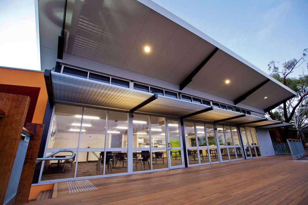 Willunga High School | Trade Training Centre   New commercial kitchen and hospitality training facility. The building includes a flexible classroom / seating area, cafe doors opening on to extensive external decking and expansive views over the Willunga basin to the gulf beyond.