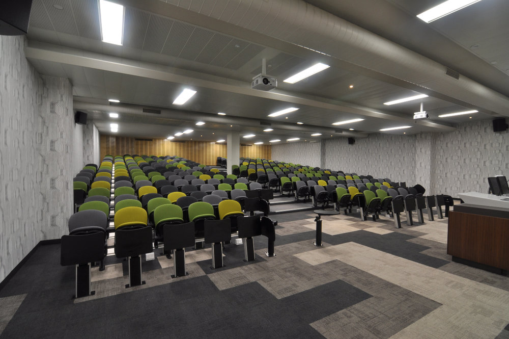 UniSA CEC | Lecture Theatre Redevelopment   Theatre specific colours and fabrics, bespoke lectern with integrated control of lighting, media and AV equipment.