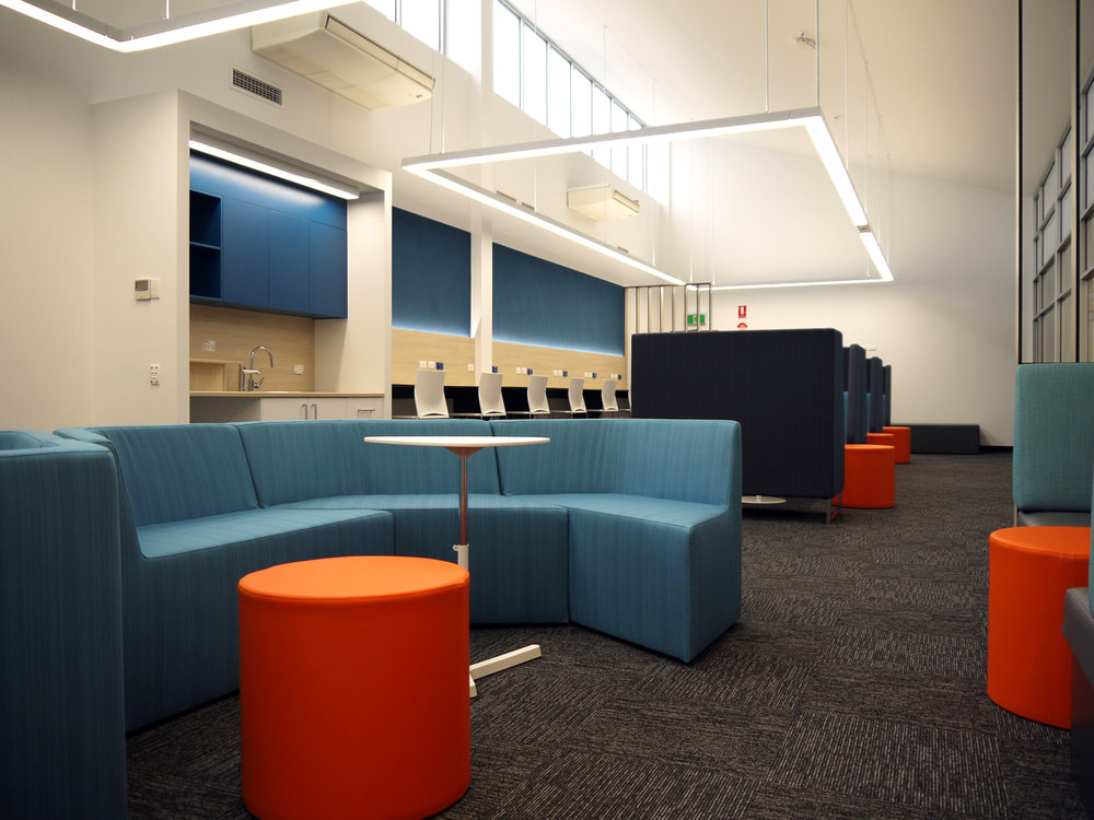 Wirreanda Senior School | Senior Breakout Space   Services: Trinamic Contractor: Inca Constructions Photographer: W+S  Refurbished space providing various individual and group study settings and opportunities for senior school students within a light filled open plan facility.