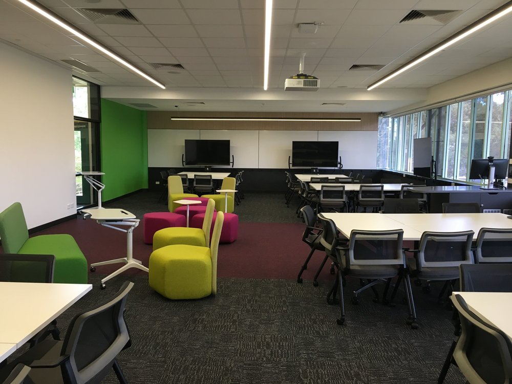 UniSA TIMP | PFTR Refurbishments   As part of the UniSA Teaching Innovation Master Plan, W+S designed and completed 4 Pilot Flexible Tutorial Rooms at each of the Campuses. Each room was slightly different due to site conditions and the ability to test different furniture and design themes with the students and teachers.