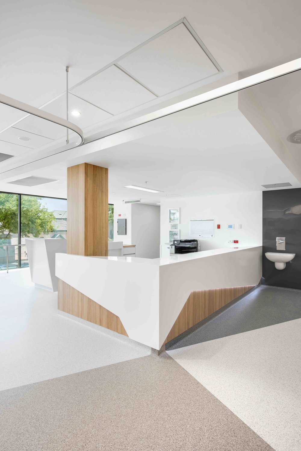 St Andrew's Hospital | ECD   Cohesive design themes integrate colour, floor patterning and joinery with building form and context. Quality materials on the clinical floor balancing warmth, comfort and servicability.