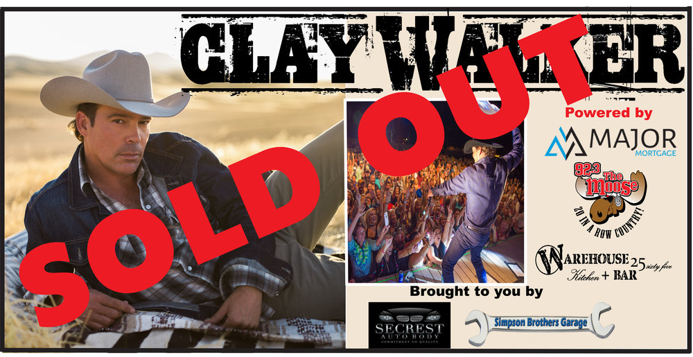 CLICK HERE TO PURCHASE    A 'MAJOR' Show with Clay Walker set to light up the Warehouse stage! Powered by Major Mortgage and 92.3 The Moose. This show is sure to sell out fast so get'em while they are hot!