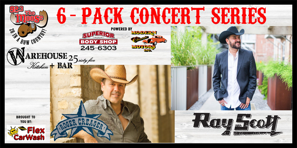 Roger Creager & Ray Scott will be teaming up for another amazing 6-Pack Concert Series.