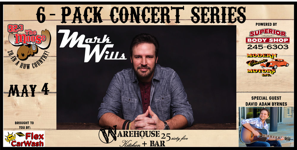 Mark Wills set to hit the Warehouse stage May 4th! Gonna be another nigh of can't miss live country music! Tickets on sale NOW!  Click on the picture