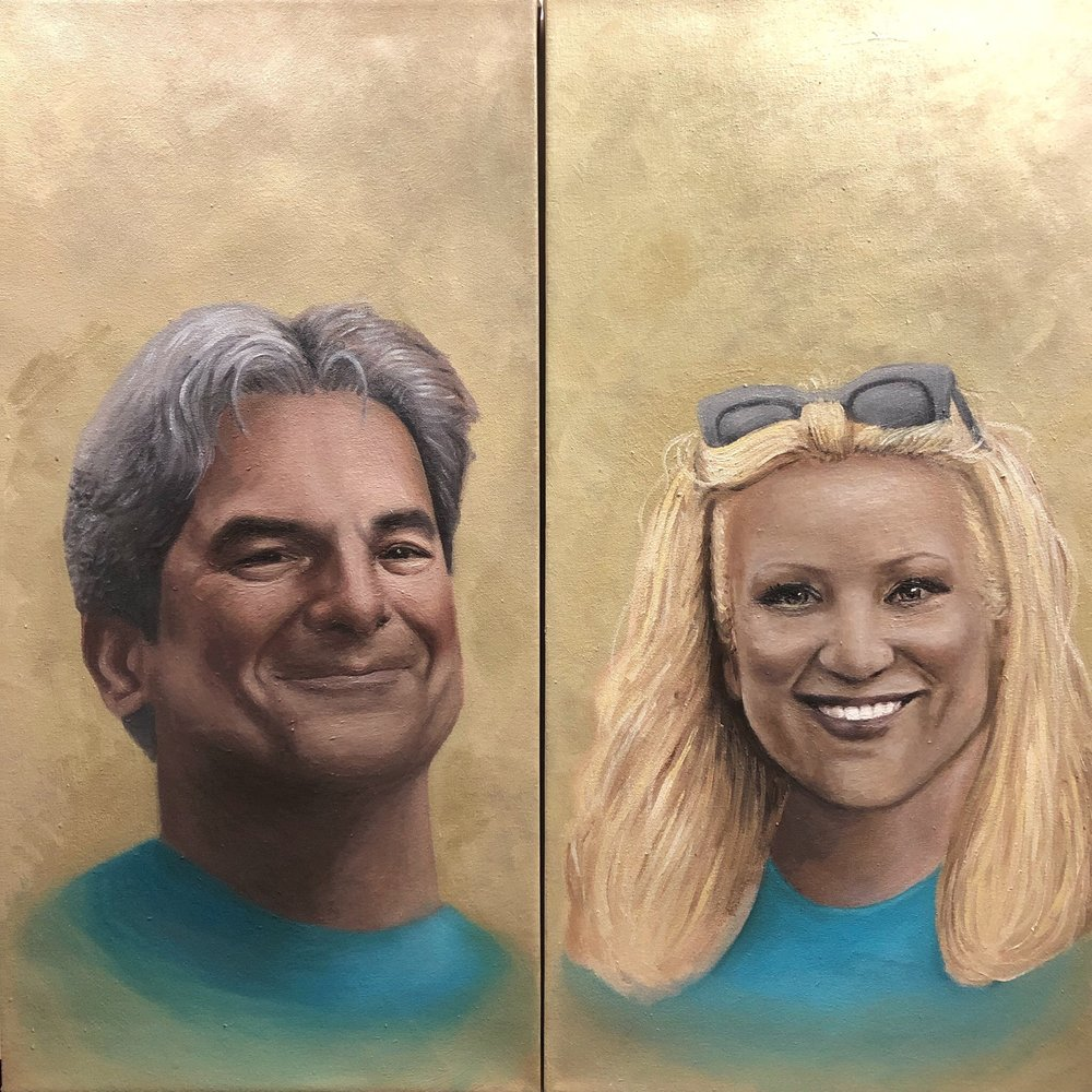 "Two 14 x 28"" portraits. Oil on canvas.  2018."