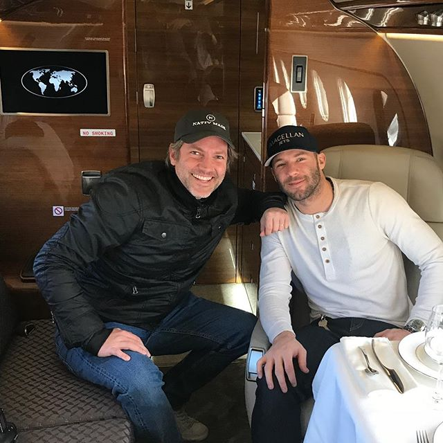 Our founder @nathancoe with the amazing Julian @edelman11 on an amazing @magellanjets ride. Go Pats and sorry that Julian isn't playing for them this weekend. He's the best! #flymagellan #magellanjets #edelman #nativmade @patriots #superbowlsunday @pilot_studio