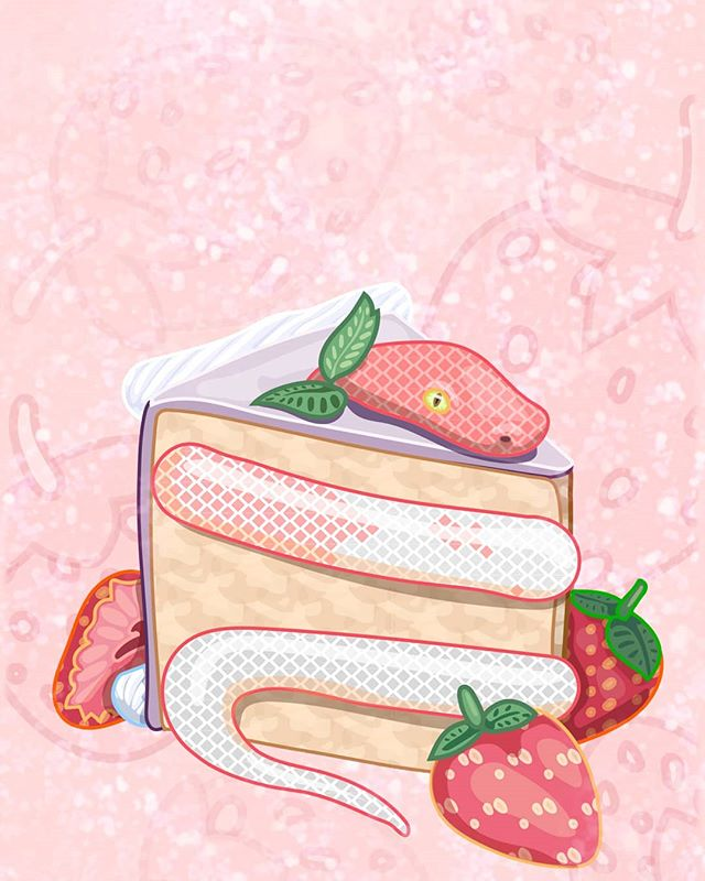🍰🍰🍓🍓🖤🐍🐍🐍🖤🍓🍓🍰🍰 ~~possibly a trap?~~hmmmm....~~ This is going to be for sale at Forest City Gallery for their Members Show! 🍰🍰🍓🍓🖤🐍🐍🐍🖤🍓🍓🍰🍰 #illustration #drawing #art #instaart #snake #pink #strawberry #cake #slither #imasnakeinacake #weshareart
