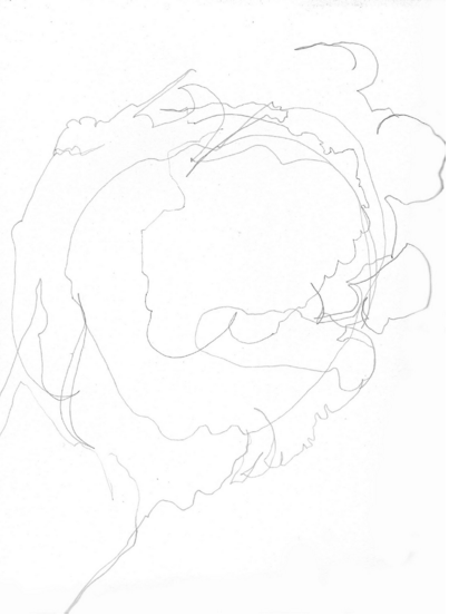 Blind contour of a hand holding an apple, by author.