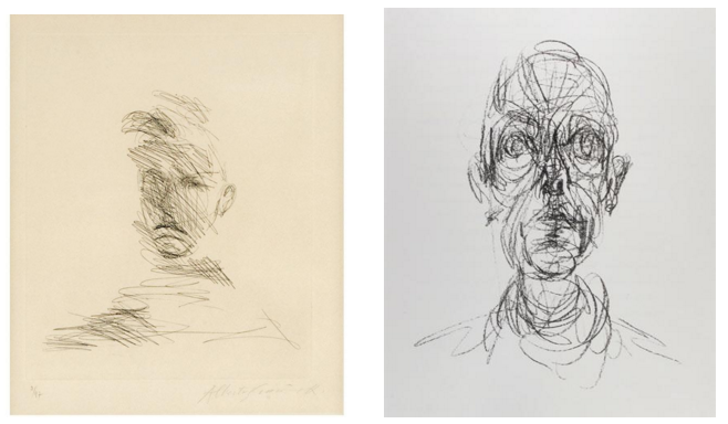 Above: Portrait drawings by Alberto Giacometti